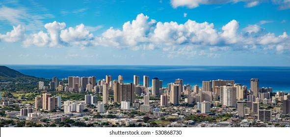 Hawaii city skyline aerial view