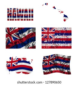 Hawaii flag and map in different styles in different textures