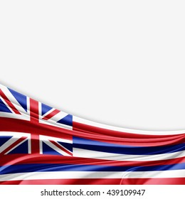 Hawaii flag of silk with copyspace for your text or images and white background-3D illustration