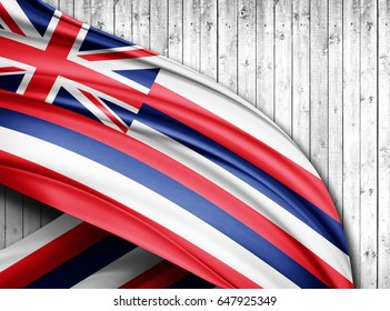 Hawaii flag of silk with copyspace for your text or images and wood  background -3D illustration