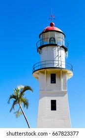 Hawaii, HI, USA - May 26, 2017: Diamond Head Lighthouse: Diamond Head Lighthouse is a United States Coast Guard facility located on Diamond Head in Honolulu, on the island of Oahu.