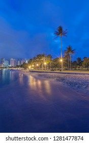 Hawaii, Honolulu, Ala Moana Park and Waikiki at Dawn
