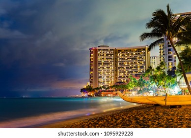 Hawaii Honolulu Oahu, Waikiki Beach at Night