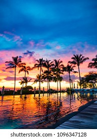 Hawaii Honolulu Pool Side Sunset And Palm Trees