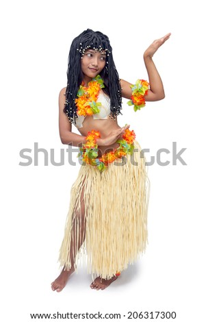 652740c4712d0 Hawaii hula dancer dancing isolated on white background. Woman in  traditional Polynesian costumes dance typical