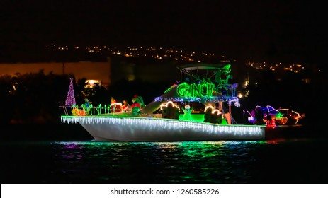 Hawaii Kai, HI, USA - December 15, 2018: The 22nd Annual Festival of Lights Boat Parade took place at Hawaii Kai Towne Center