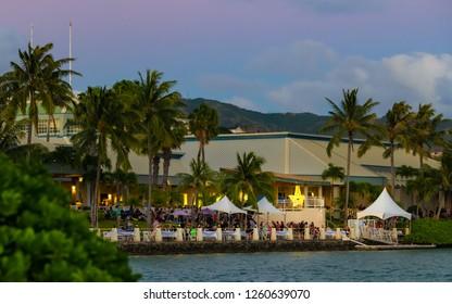 Hawaii Kai, HI, USA - December 15, 2018: Hawaii Kai towne center hosts the 22nd annual festival of lights boat parade