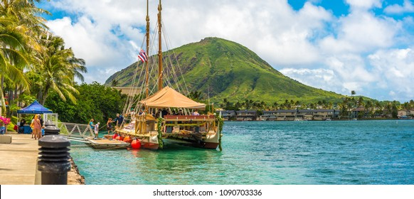 Hawaii Kai, Hawaii - May 13, 2018: The double-hulled canoe, Hokulea, docks at Hawaii Kai Towne Center