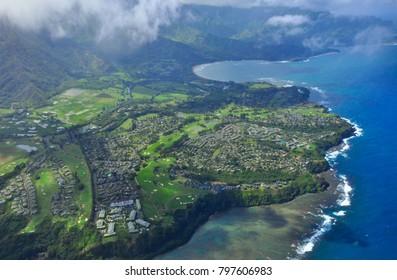Hawaii kauai napali coast aerial view