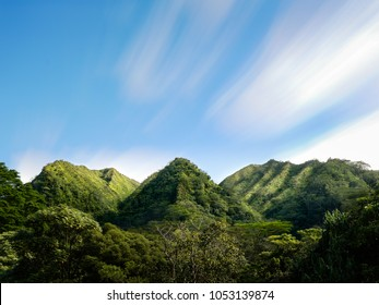 Hawaii mountains and valleys on a sunny day, long exposure, Manoa Valley, Oahu, Hawaii