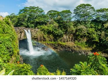 Hawaii, Rainbow Falls in Hilo. Wailuku River State Park.