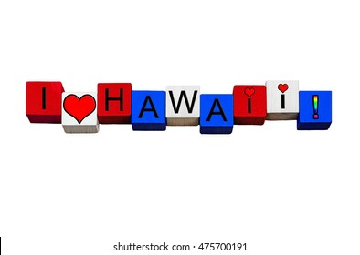 Hawaii - sign for Hawai'i, Honolulu, Hawaiian Islands, American states & travel - design / banner / word - in national flag colors - isolated on white background.