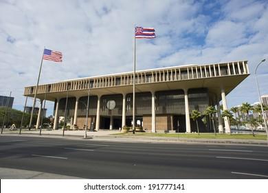 Hawaii State Capital building in Honolulu, Hawaii.