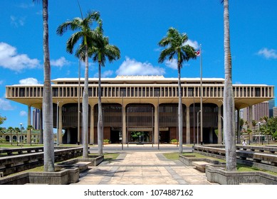 The Hawaii State Capitol is the official statehouse or capitol building of the U.S. state of Hawaii - Honolulu, USA