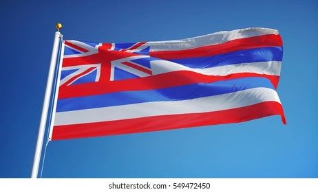 Hawaii (U.S. state) flag waving against clear blue sky, close up, isolated with clipping path mask alpha channel transparency, perfect for film, news, composition