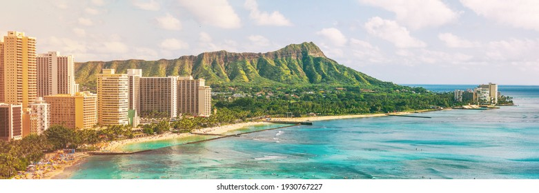 Hawaii waikiki beach in Honolulu city, aerial view of Diamond Head famous landmark travel landscape destination in Oahu island, USA. Banner panorama.