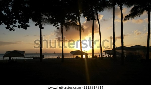 Hawaii Waikiki Beach Honolulu Sunset Stock Photo Edit Now