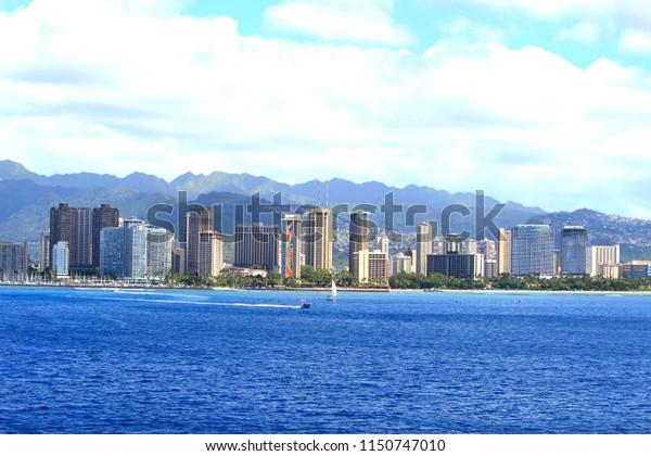 Hawaii Waikiki city view from the sea