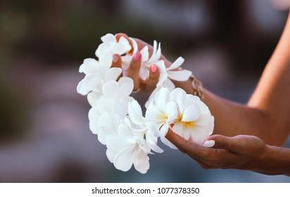 Hawaii woman showing flower lei garland of white plumeria flowers.