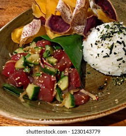 Hawaiian Ahi Poke with sticky rice and root vegetable chips