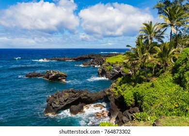 Hawaiian coast line on Maui near Black Sand Beach in the early summer months