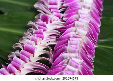 Hawaiian flowers lei necklace close-up
