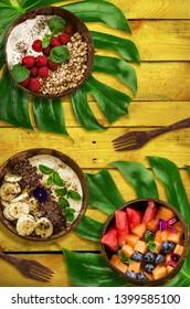 Hawaiian food in coconut bowls, zero waste