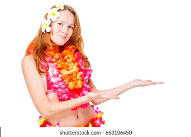 Hawaiian girl in traditional clothes and space on the right over white background