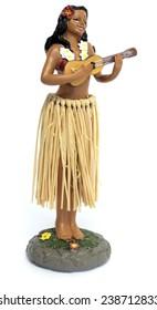 Hawaiian hula girl playing ukulele dashboard