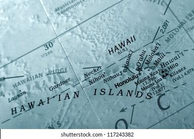 Hawaiian Islands on a globe