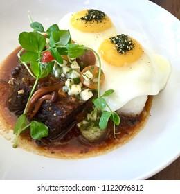 Hawaiian Kalbi Loco Moco with two Sunny Side Eggs
