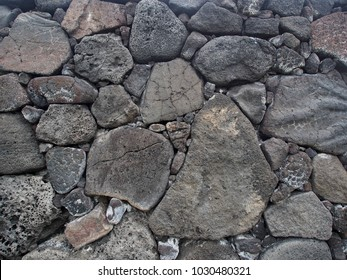 Hawaiian Lava Rock Wall, Rocks of Various Sizes, Dry Stack Method, No Mortar, Built Around 1550 at Pu'uhonua O Honaunau National Historical Park, Hawaii, USA