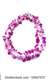 Hawaiian lei made of large orchid blooms