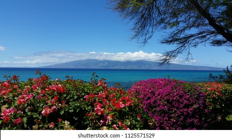 Hawaiian ocean scene in Maui toward Lahaina.