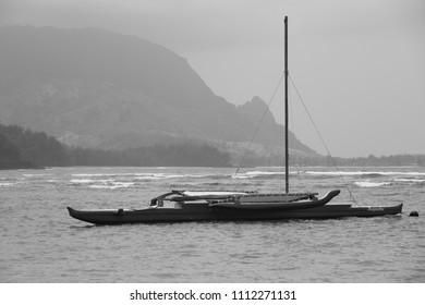 Hawaiian outrigger boat