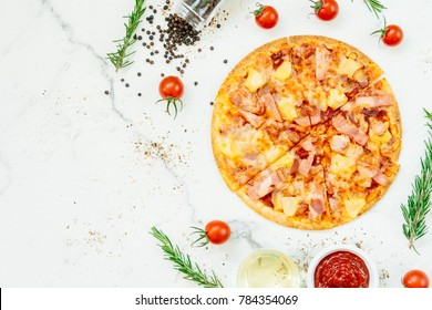 Hawaiian pizza with pineapple and ham - Unhealthy food style