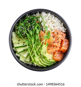Hawaiian salmon poke bowl with seaweed, avocado, sesame seeds and cucumber isolated on white background, top view
