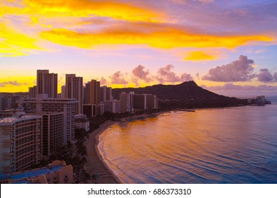 Hawaiian sunrise at Waikiki Beach