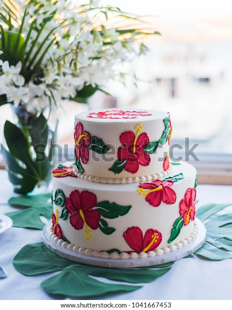 Excellent Hawaiian Theme Party Cake Stock Photo Edit Now 1041667453 Personalised Birthday Cards Epsylily Jamesorg