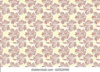 Hawaiian tropical natural floral in yellow and brown colors. Hibiscus flowers on a white background in a trendy raster style.