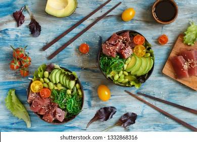 Hawaiian tuna poke salad in the bowls