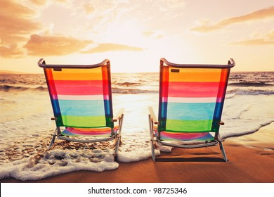 Hawaiian Vacation Sunset Concept, Two Beach Chairs at Sunset