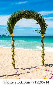 Hawaiian wedding arch on a beach