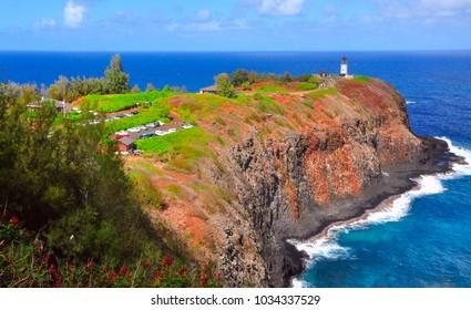 Hawaii's Kilauea Point Lighthouse, built in 1913 on the island of Kauai, Hawaii