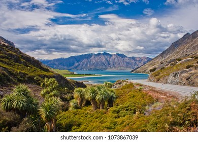 Hawea lake near town of Wanaka in New Zealand