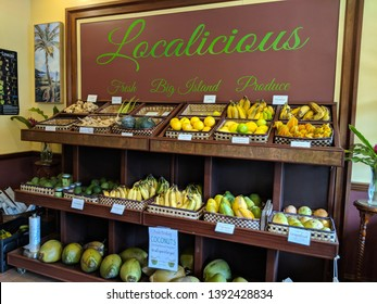 Hawi, Hawaii, United States - October 22, 2018:  Kohala Grown Market Localicious Fresh Big Island Produce.