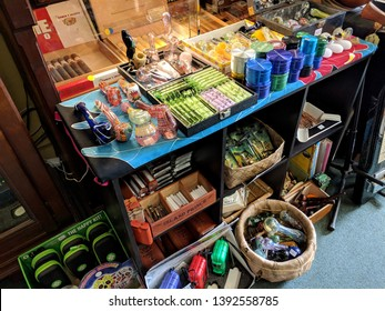 Hawi, Hawaii, United States - October 22, 2018: Cigars and Smoking accessories inside store.