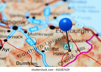 Hawick pinned on a map of Scotland