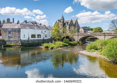 Hawick, Scotland - May 12 2019; Old Bridge over the Teviot River in Hawick