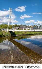 Hawick, Scotland - May 12 2019; New footbridge over the Teviot River